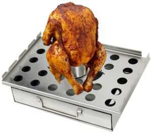 5GT1-Beer can chicken roaster with food
